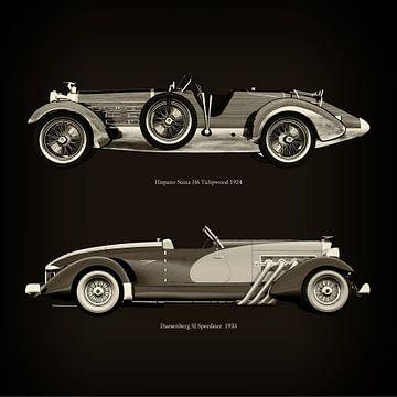 Hispano Suiza H6 Tulipwood 1924 en Duesenberg SJ Speedster 1933