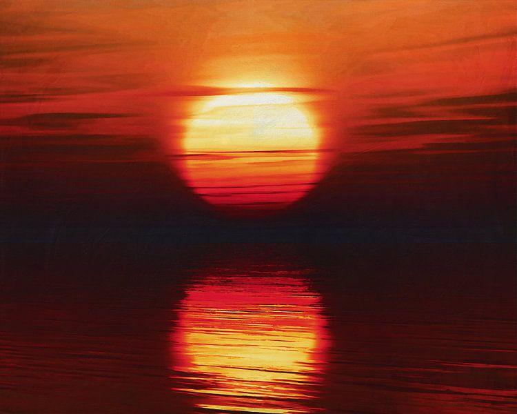 zonsondergang aan zee van Jan Keteleer