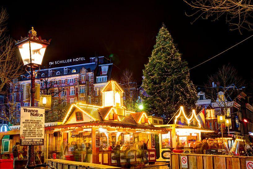 Sfeervol Kerst Rembrandtplein in Amsterdam van Dexter Reijsmeijer