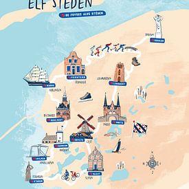 Friese elf steden plattegrond van Karin van der Vegt