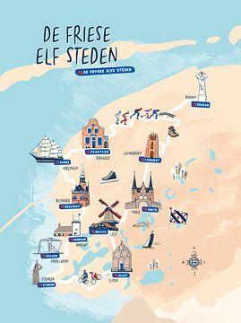 Karte der elf friesischen Städte von Karin van der Vegt