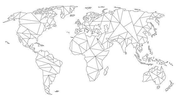 Geometrische Wereldkaart | Lijntekening | Zwart op Wit