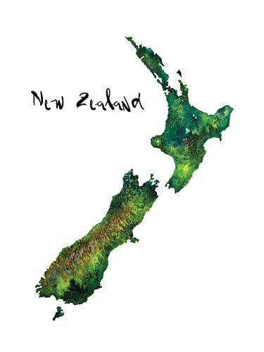 Kaart van Nieuw Zeeland in Aquarel