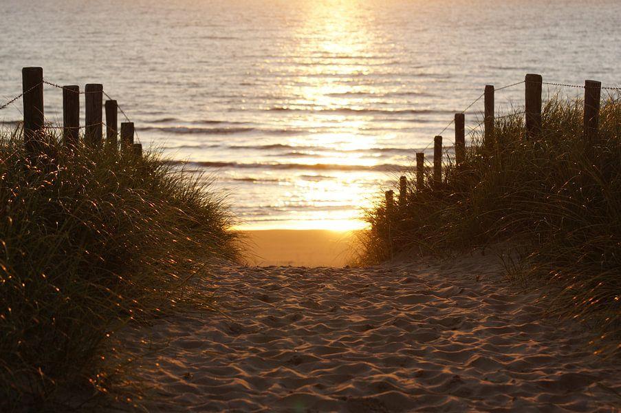 strand afgang in de avond