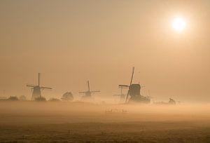 Nebliger Sonnenaufgang über Kinderdijk von Raoul Baart