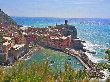 Die Bucht von Vernazza - Cinque Terre - Italien - Gemälde von Schildersatelier van der Ven
