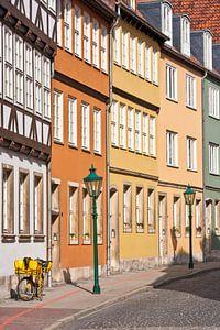 huizenrij in de oude binnenstad van Hannover
