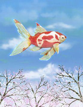Vliegende goudvis van Bianca Wisseloo