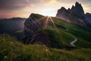 Die Sonne kommt über Seceda - Dolomiten von Roy Poots