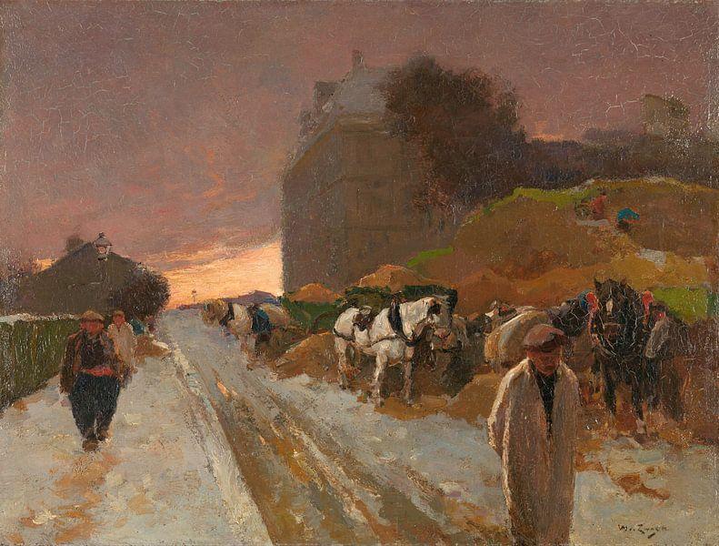 Straße in Montmartre, Paris, im Winter, Willem de Zwart von Meesterlijcke Meesters
