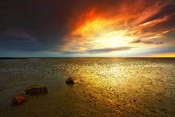 Coucher de soleil à marée basse dans la mer des Wadden