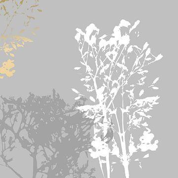 Botanische Pflanzen 16 . Grasbüschel in Pastellfarben mit goldenen abstrakten Pinselstrichen von Dina Dankers
