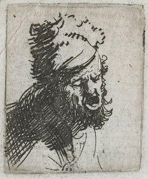 Tête d'homme au chapeau de fourrure, hurlant, Rembrandt van Rijn