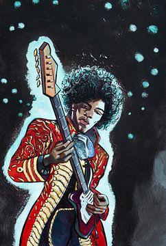Jimi Hendrix sur Adri van Kooten