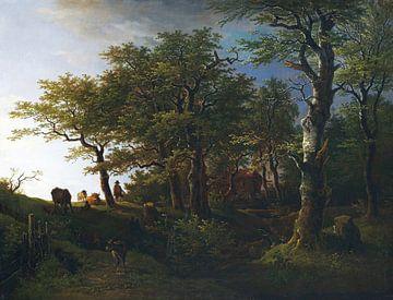 MAX JOSEPH WAGENBAUER, Licht boslandschap met vee en herders, 1807