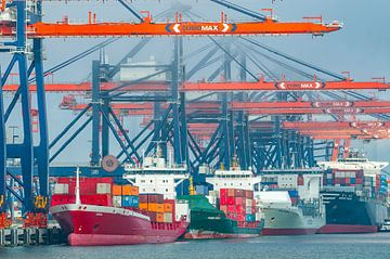 Containerschiffe auf dem Containerterminal im Hafen von Rotterd von Sjoerd van der Wal