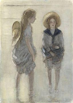 Zwei Mädchen mit den Beinen im Wasser, Johan Antonie de Jonge
