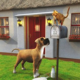Katzen – Katze auf der Mailbox von Jan Keteleer
