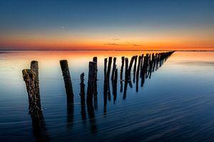 Zonsondergang Waddenzee vloed van Jacques Jullens