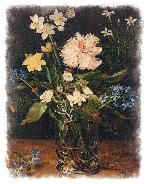 Oude Meesters serie #7 - Stilleven met bloemen in een glas, Jan Brueghel (II) van Anita Meis