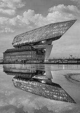 Havenhuis Antwerpen in de schemering weerspiegeld in een vijver van Tony Vingerhoets