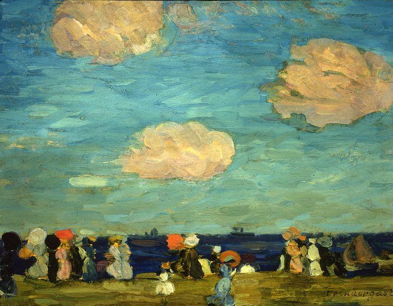 Maurice Prendergast~Meeresküste mit Figuren von finemasterpiece