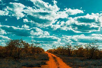 Lege weg onder een bewolkte lucht van Senten-Images Carlo Senten
