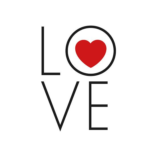 Canvas met tekst love en een rood hartje van Mike Maes