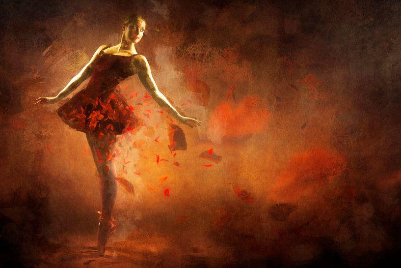 Geschilderde Rode Ballerina van Arjen Roos