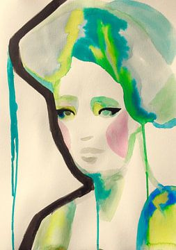 Neon Geisha Glam van Helia Tayebi Art