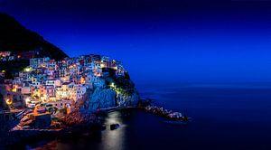 Manarola, Cinque Terre Nacht opname, Liguria Italy