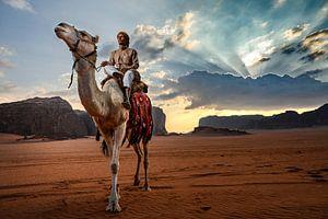 Kamelen hoeder Jordanië Wadi Rum