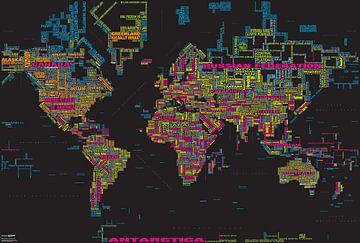 Wereldkaart Typografie, Zwart & Kleur van MAPOM Geoatlas