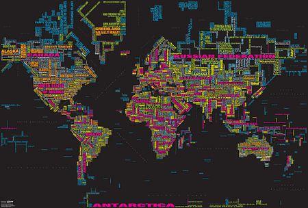Carte topographique mondiale, Noire et Couleur