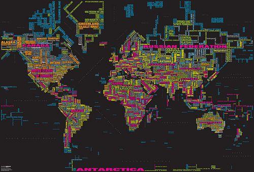 Typografische Weltkarte, Schwarz und Farben