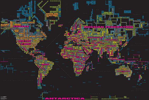 Wereldkaart Typografie, Zwart & Kleur