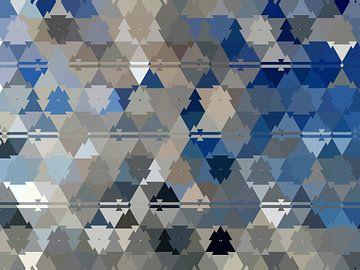 Abstract driehoeken in blauw en beige van Maurice Dawson