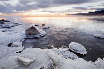 IJs en zon op de ijskoude herfst van Siberië van Michael Semenov