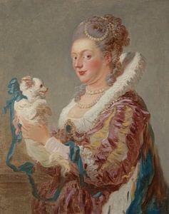 Jean-Antoine Watteau. Een Vrouw Met Een Hond van