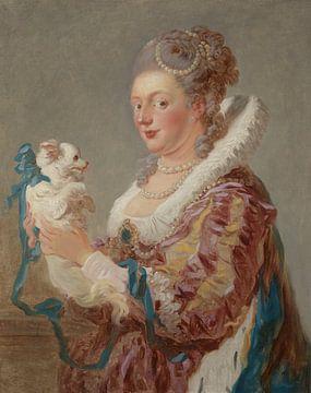 Jean-Antoine Watteau Eine Frau mit einem Hund