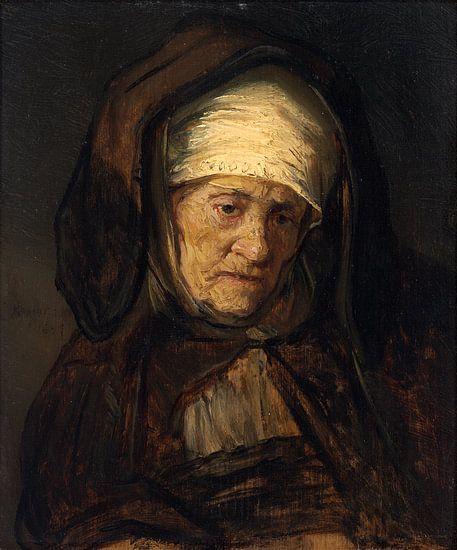 Hoofd van een Oude Vrouw, Volgeling van Rembrandt van Rijn van Rembrandt van Rijn