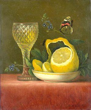 Stilleven met citroen en geslepen glas, Maria Margaretha van Os