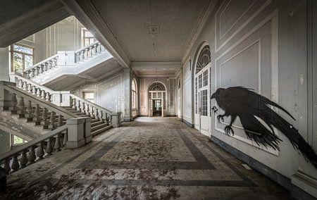Trap in groot gebouw, met vogelkunst op de muur