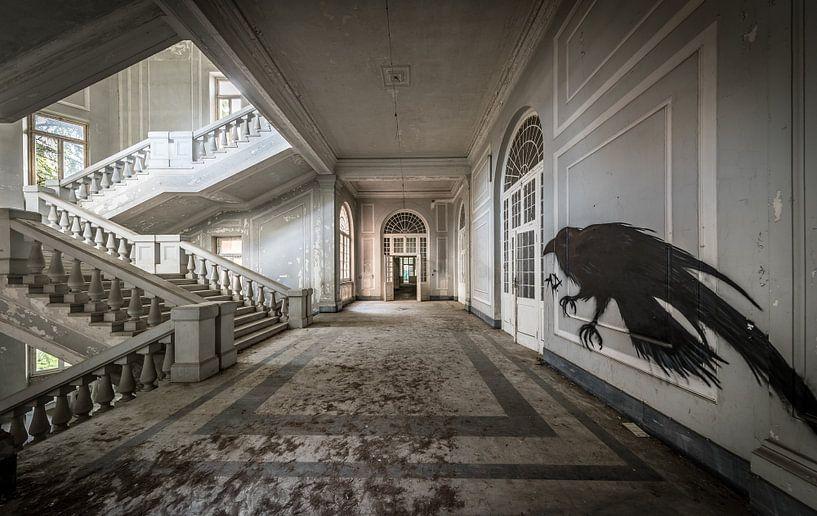 Trap in groot gebouw, met vogelkunst op de muur van Inge van den Brande