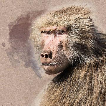 Portret van een vrouwtjes baviaan (kunst) van Art by Jeronimo