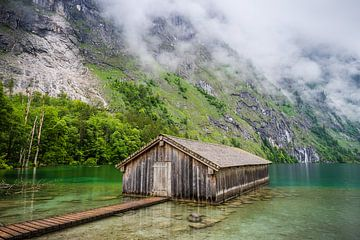 Zonnig boothuis aan de Obersee, Duitsland van Bob Slagter