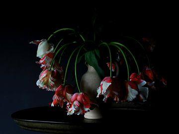 Vaas met Rembrandt tulpen von Jacco van Brecht