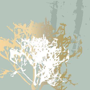 Botanische Pflanzen 5 . Grasbüschel in Pastellfarben mit goldenen abstrakten Pinselstrichen von Dina Dankers
