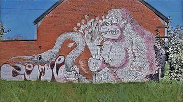 Urbex - Der brachiale Gorilla - Graffiti in den Straßen von Doel, Belgien - Malerei von Schildersatelier van der Ven