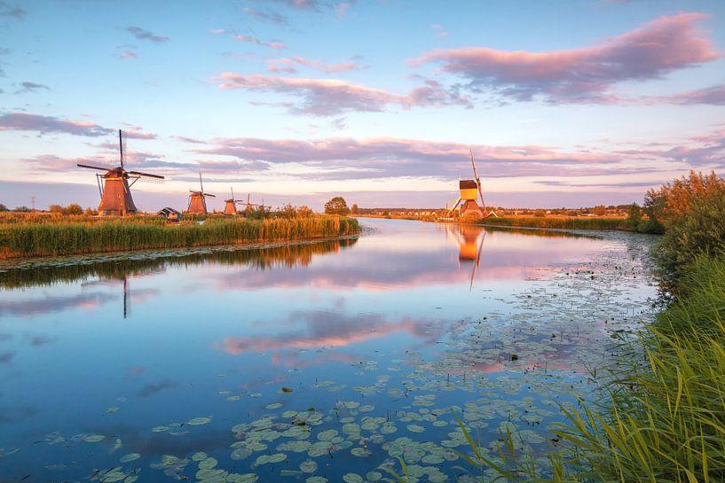 Kinderdijk in het gouden uur van Ilya Korzelius